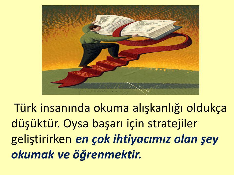 Türk insanında okuma alışkanlığı oldukça düşüktür