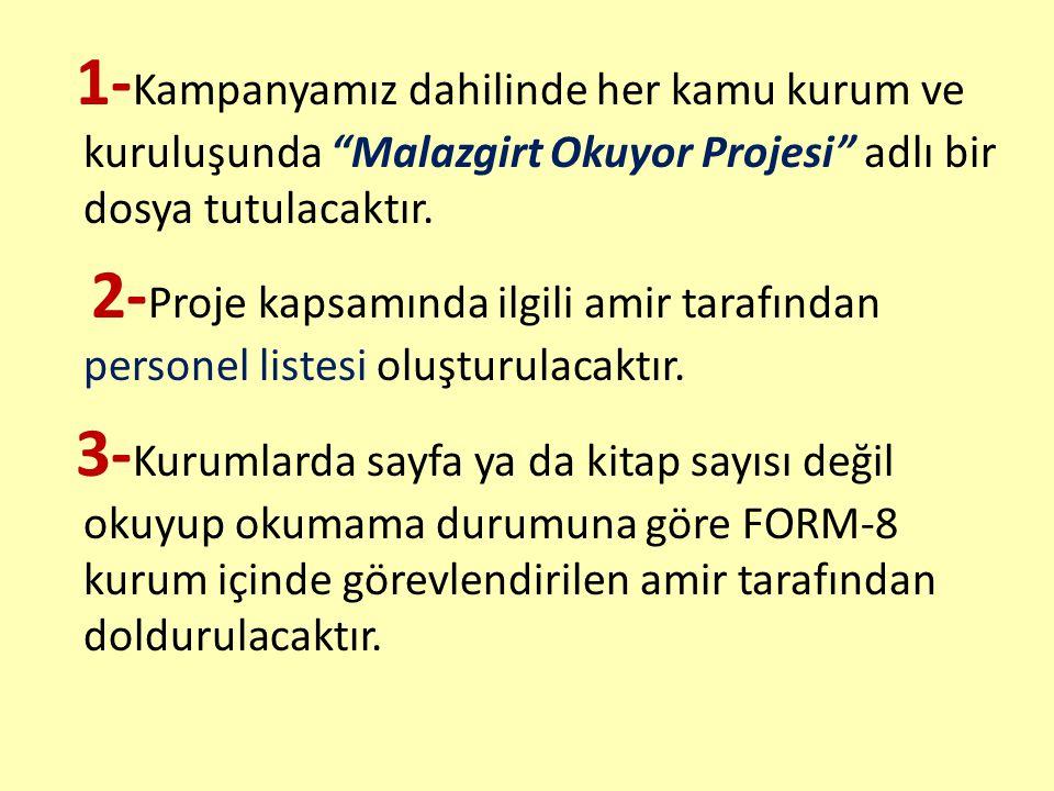 1-Kampanyamız dahilinde her kamu kurum ve kuruluşunda Malazgirt Okuyor Projesi adlı bir dosya tutulacaktır.