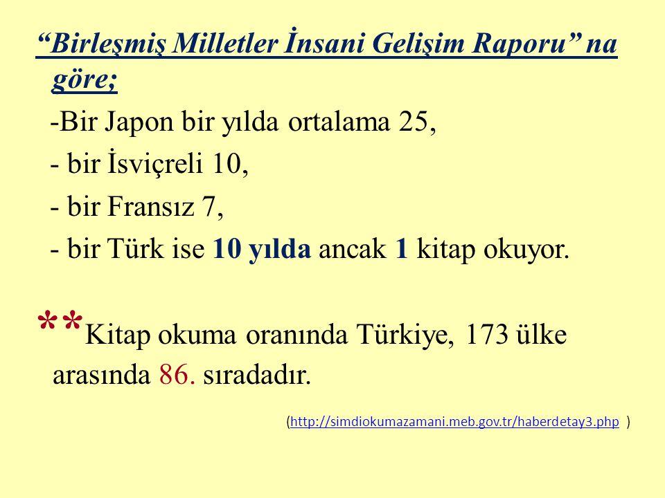 Birleşmiş Milletler İnsani Gelişim Raporu na göre; -Bir Japon bir yılda ortalama 25, - bir İsviçreli 10, - bir Fransız 7, - bir Türk ise 10 yılda ancak 1 kitap okuyor.