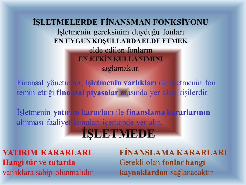 İŞLETMELERDE FİNANSMAN FONKSİYONU EN UYGUN KOŞULLARDA ELDE ETMEK