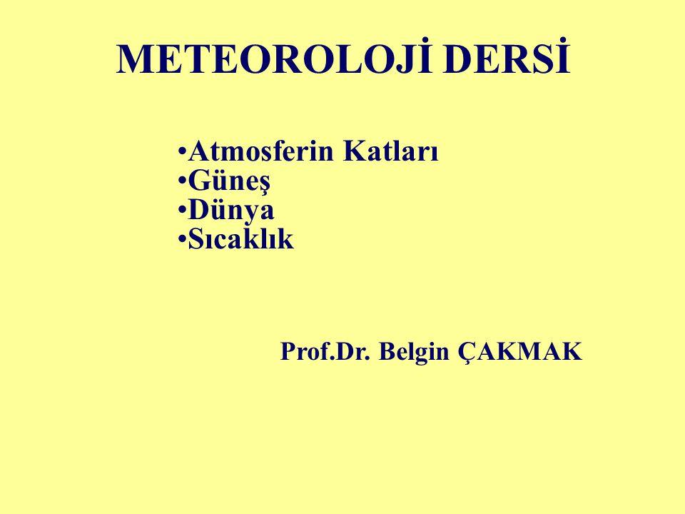 METEOROLOJİ DERSİ Atmosferin Katları Güneş Dünya Sıcaklık