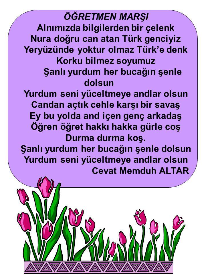 Alnımızda bilgilerden bir çelenk Nura doğru can atan Türk genciyiz