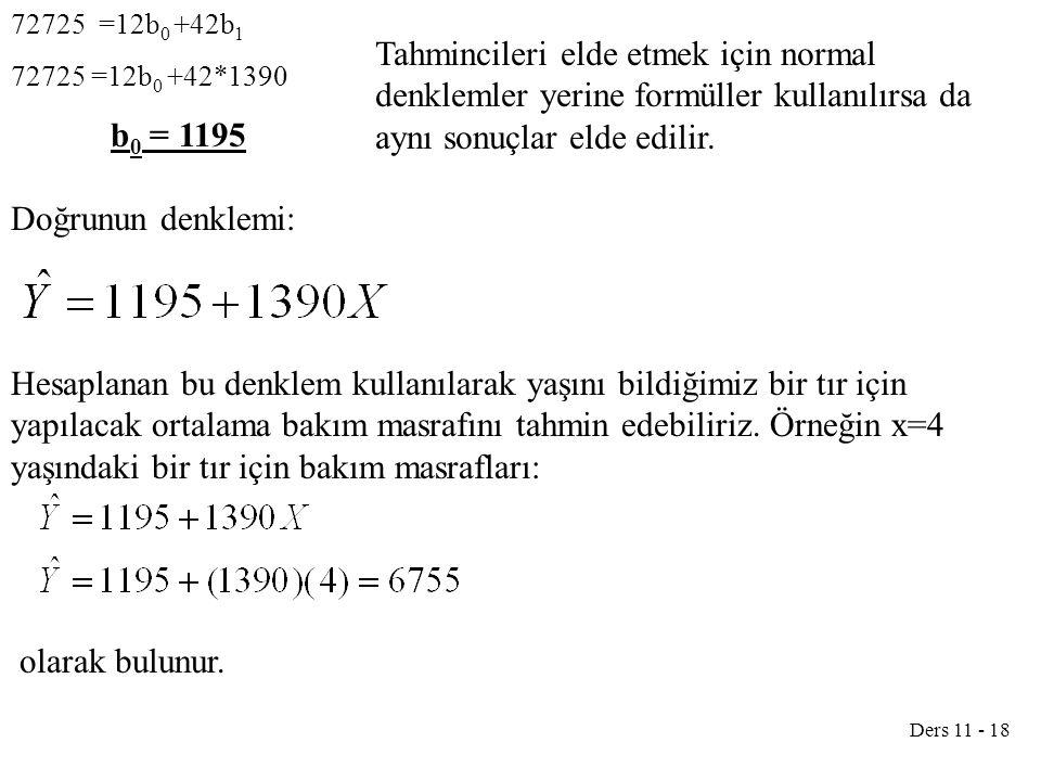 72725 =12b0 +42b1 72725 =12b0 +42*1390. b0 = 1195.