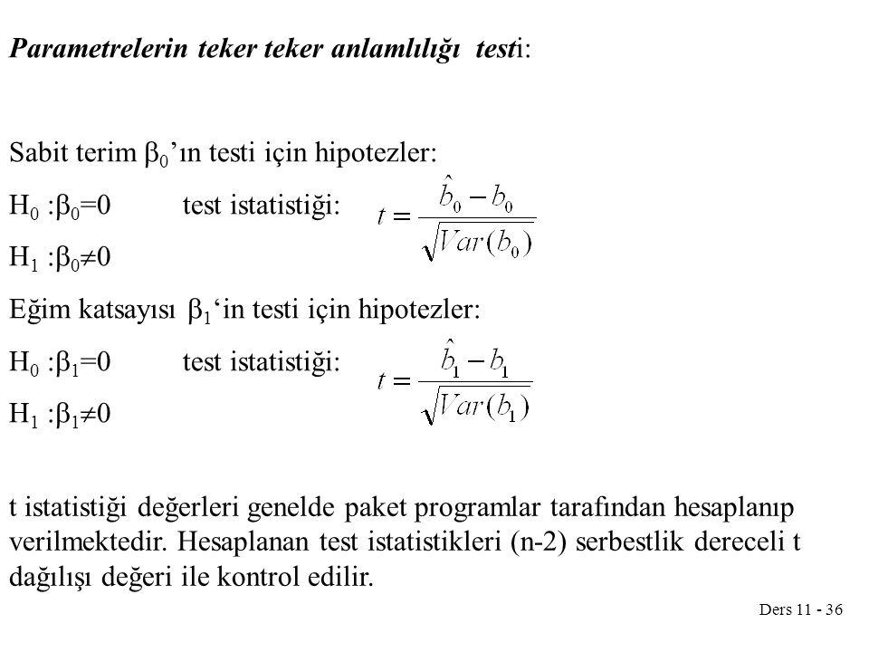Parametrelerin teker teker anlamlılığı testi: