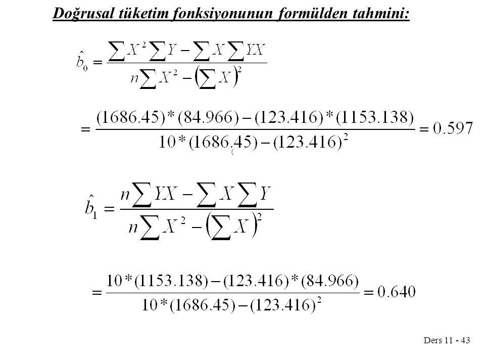 Doğrusal tüketim fonksiyonunun formülden tahmini: