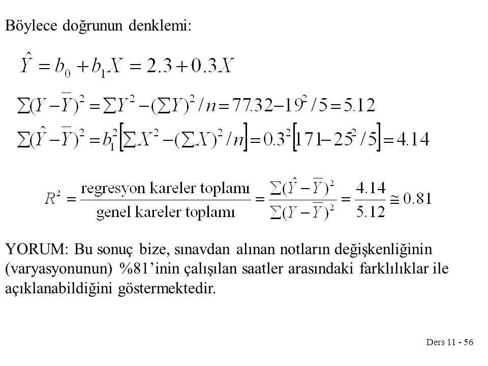 Böylece doğrunun denklemi: