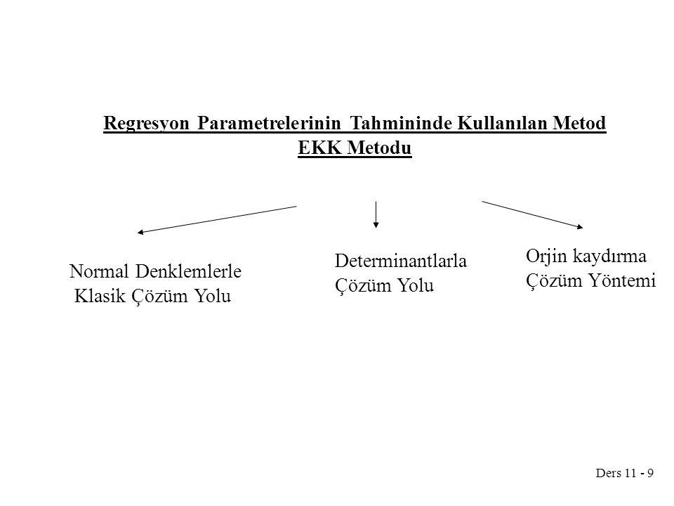 Regresyon Parametrelerinin Tahmininde Kullanılan Metod