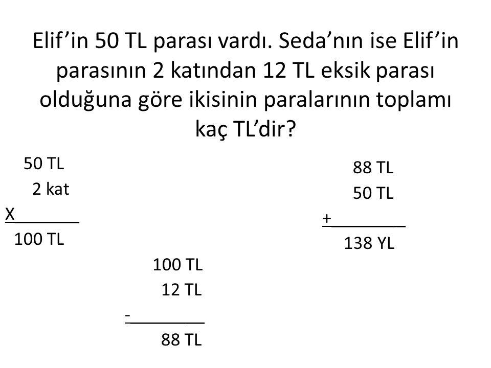 Elif'in 50 TL parası vardı