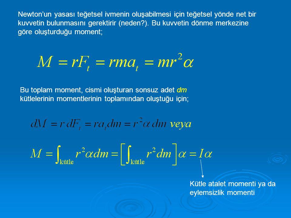 Newton'un yasası teğetsel ivmenin oluşabilmesi için teğetsel yönde net bir kuvvetin bulunmasını gerektirir (neden ). Bu kuvvetin dönme merkezine göre oluşturduğu moment;