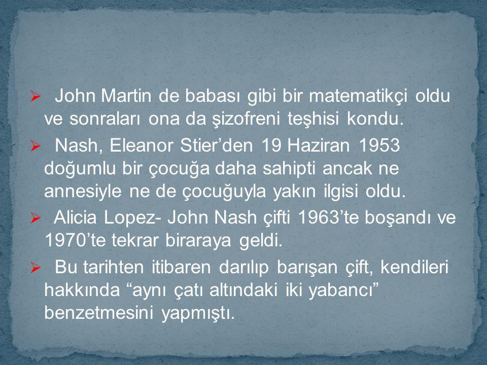 John Martin de babası gibi bir matematikçi oldu ve sonraları ona da şizofreni teşhisi kondu.