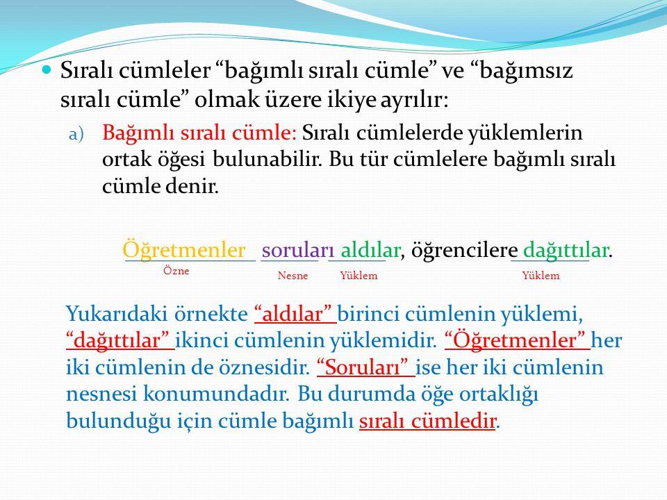Sıralı cümleler bağımlı sıralı cümle ve bağımsız sıralı cümle olmak üzere ikiye ayrılır: