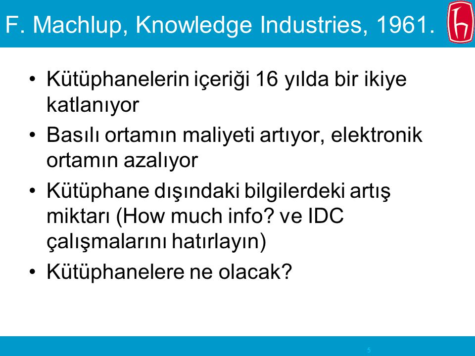 F. Machlup, Knowledge Industries, 1961.
