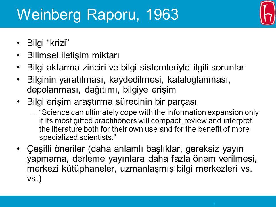 Weinberg Raporu, 1963 Bilgi krizi Bilimsel iletişim miktarı
