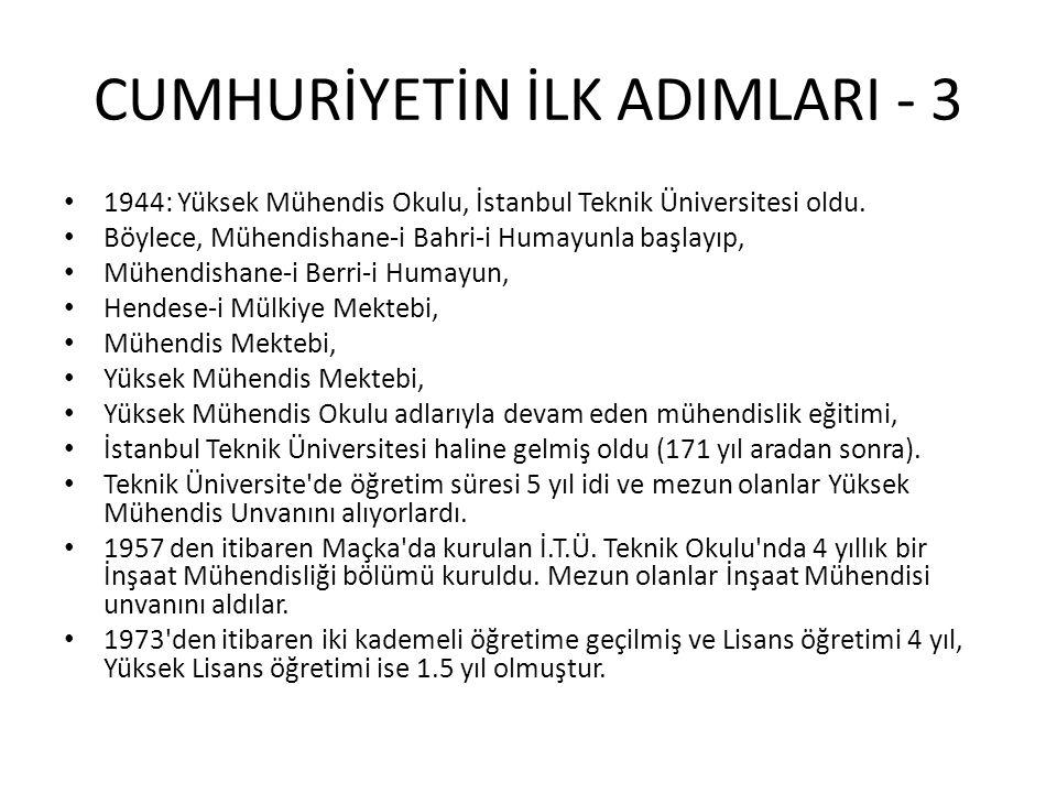 CUMHURİYETİN İLK ADIMLARI - 3