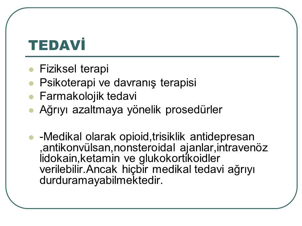 TEDAVİ Fiziksel terapi Psikoterapi ve davranış terapisi