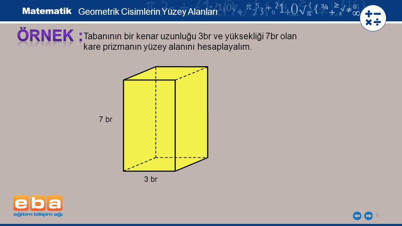 ÖRNEK : Geometrik Cisimlerin Yüzey Alanları