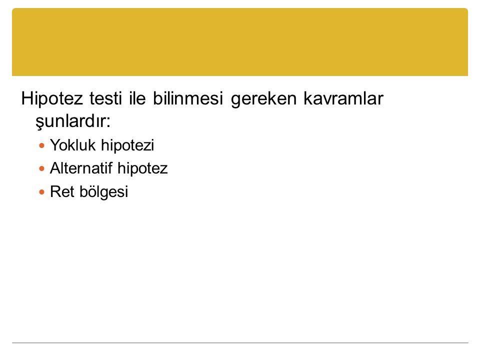 Hipotez testi ile bilinmesi gereken kavramlar şunlardır: