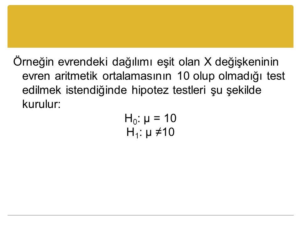 Örneğin evrendeki dağılımı eşit olan X değişkeninin evren aritmetik ortalamasının 10 olup olmadığı test edilmek istendiğinde hipotez testleri şu şekilde kurulur: H0: µ = 10 H1: µ ≠10