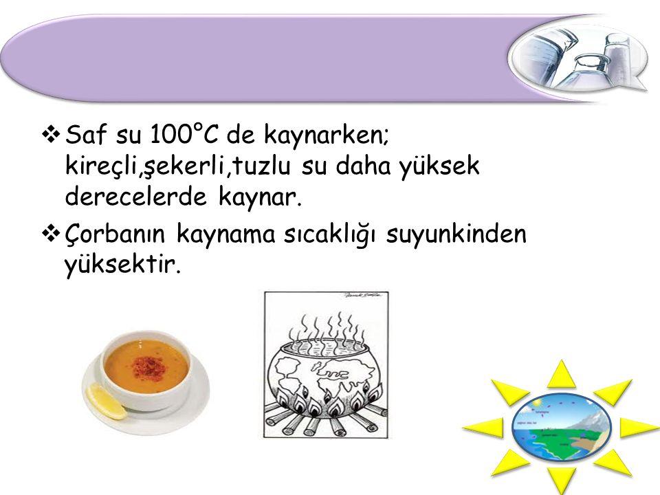 Saf su 100°C de kaynarken; kireçli,şekerli,tuzlu su daha yüksek derecelerde kaynar.