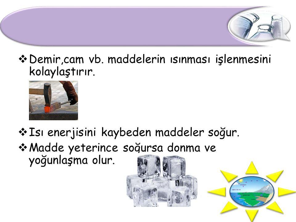 Demir,cam vb. maddelerin ısınması işlenmesini kolaylaştırır.