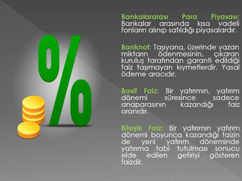 Bankalararası Para Piyasası: Bankalar arasında kısa vadeli fonların alınıp satıldığı piyasalardır.
