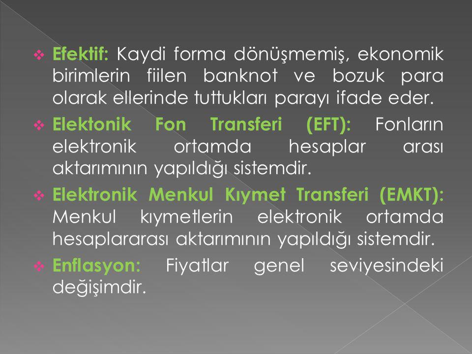 Efektif: Kaydi forma dönüşmemiş, ekonomik birimlerin fiilen banknot ve bozuk para olarak ellerinde tuttukları parayı ifade eder.