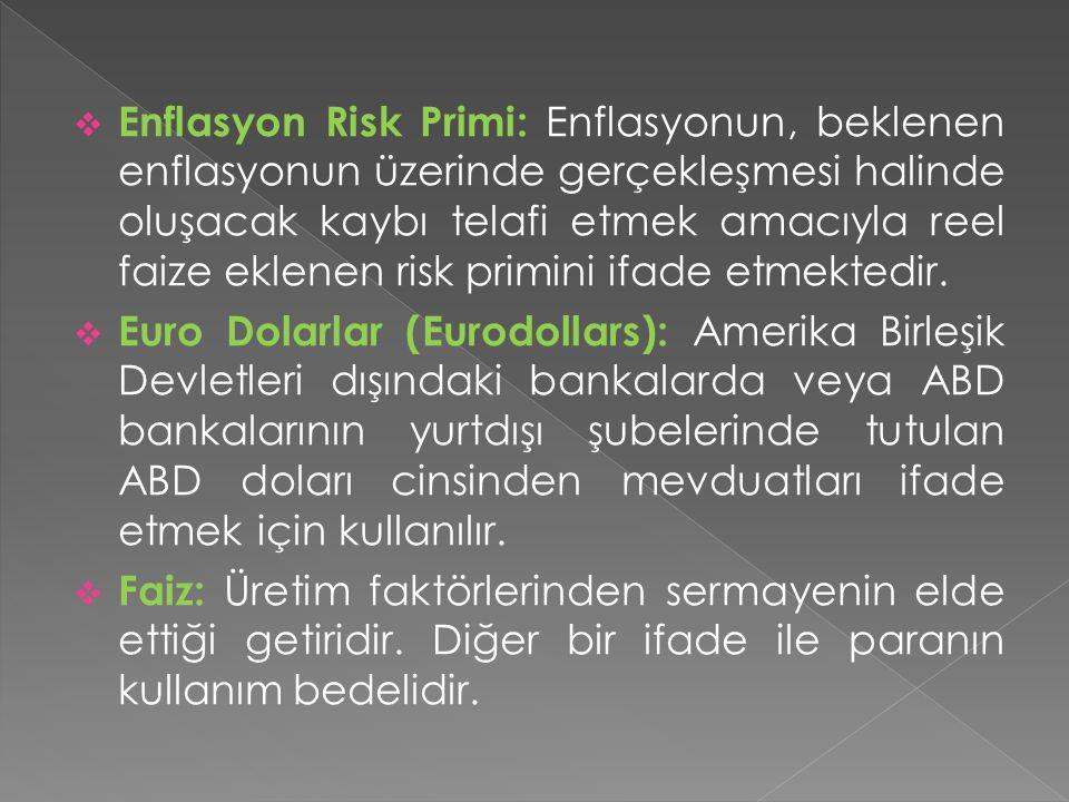 Enflasyon Risk Primi: Enflasyonun, beklenen enflasyonun üzerinde gerçekleşmesi halinde oluşacak kaybı telafi etmek amacıyla reel faize eklenen risk primini ifade etmektedir.