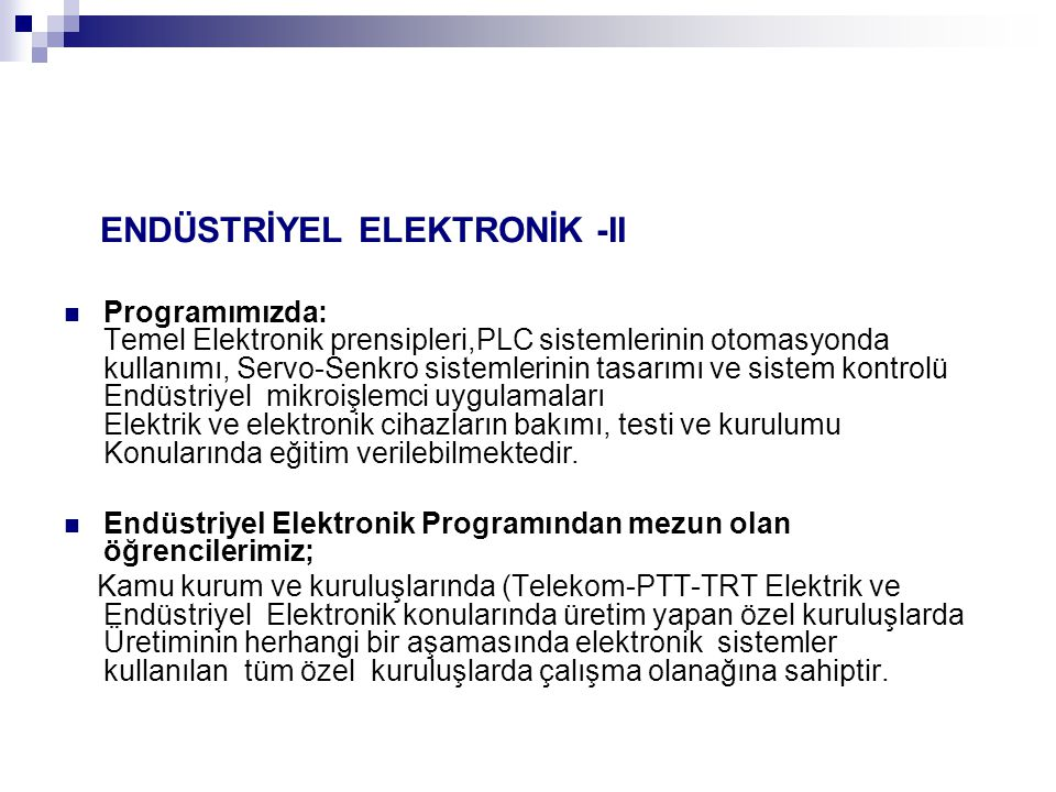 ENDÜSTRİYEL ELEKTRONİK -II