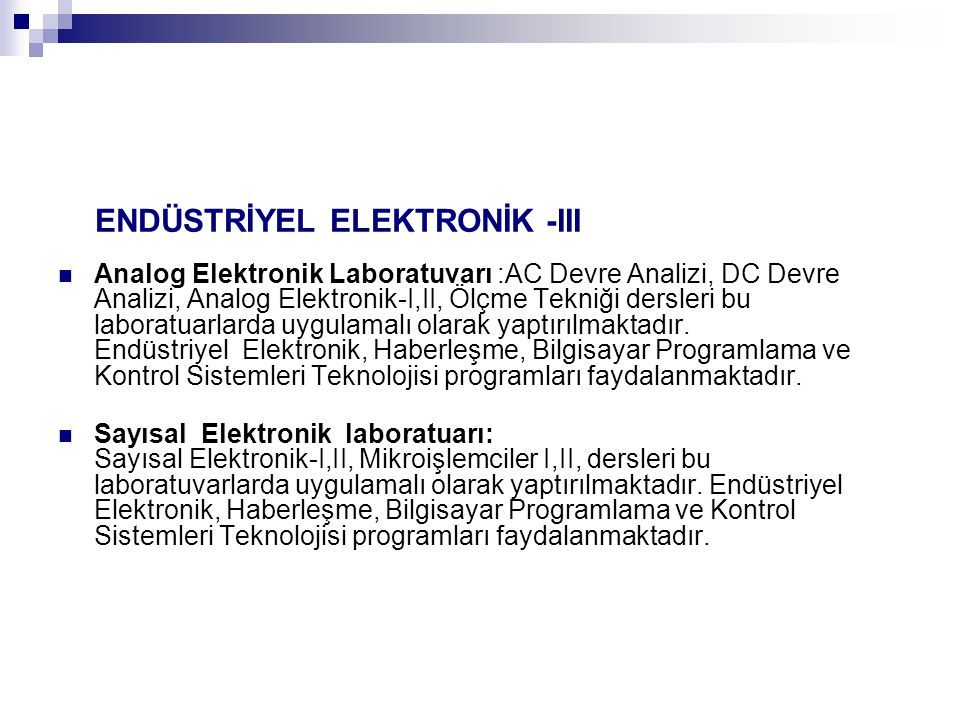 ENDÜSTRİYEL ELEKTRONİK -III