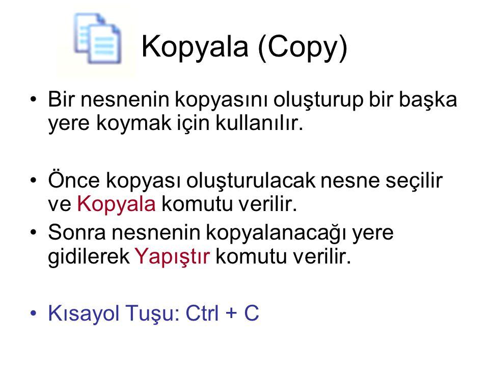 Kopyala (Copy) Bir nesnenin kopyasını oluşturup bir başka yere koymak için kullanılır.