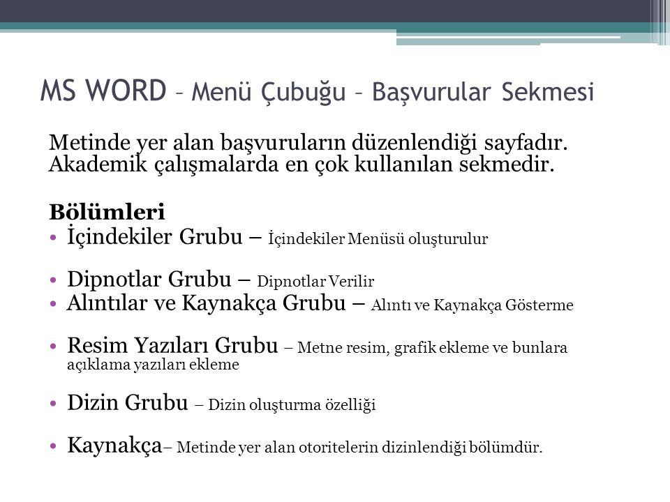MS WORD – Menü Çubuğu – Başvurular Sekmesi