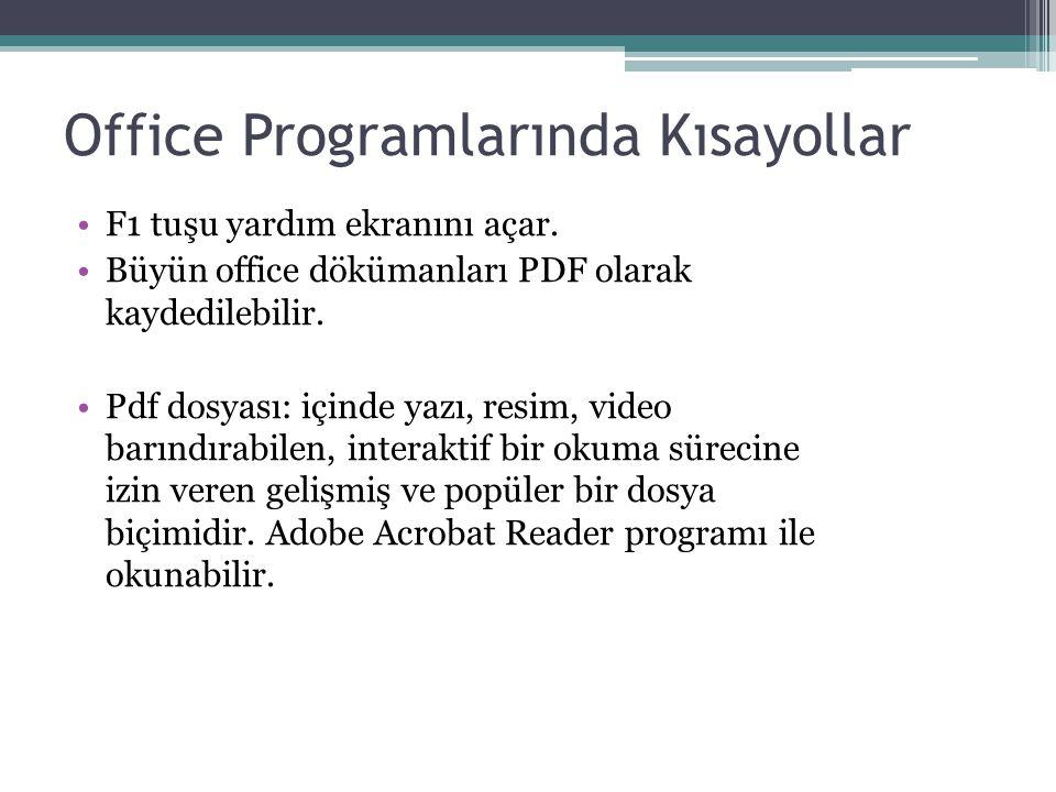 Office Programlarında Kısayollar