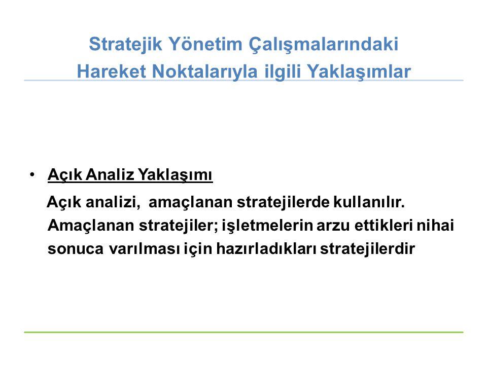 Stratejik Yönetim Çalışmalarındaki Hareket Noktalarıyla ilgili Yaklaşımlar