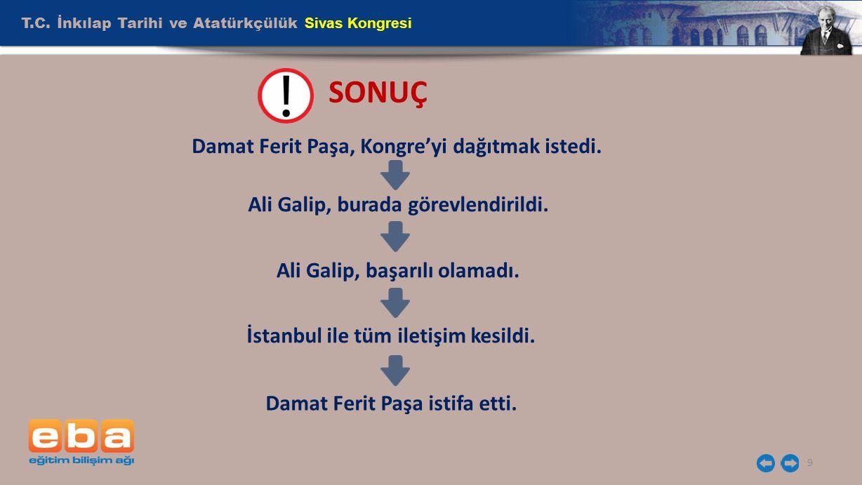 SONUÇ T.C. İnkılap Tarihi ve Atatürkçülük Sivas Kongresi