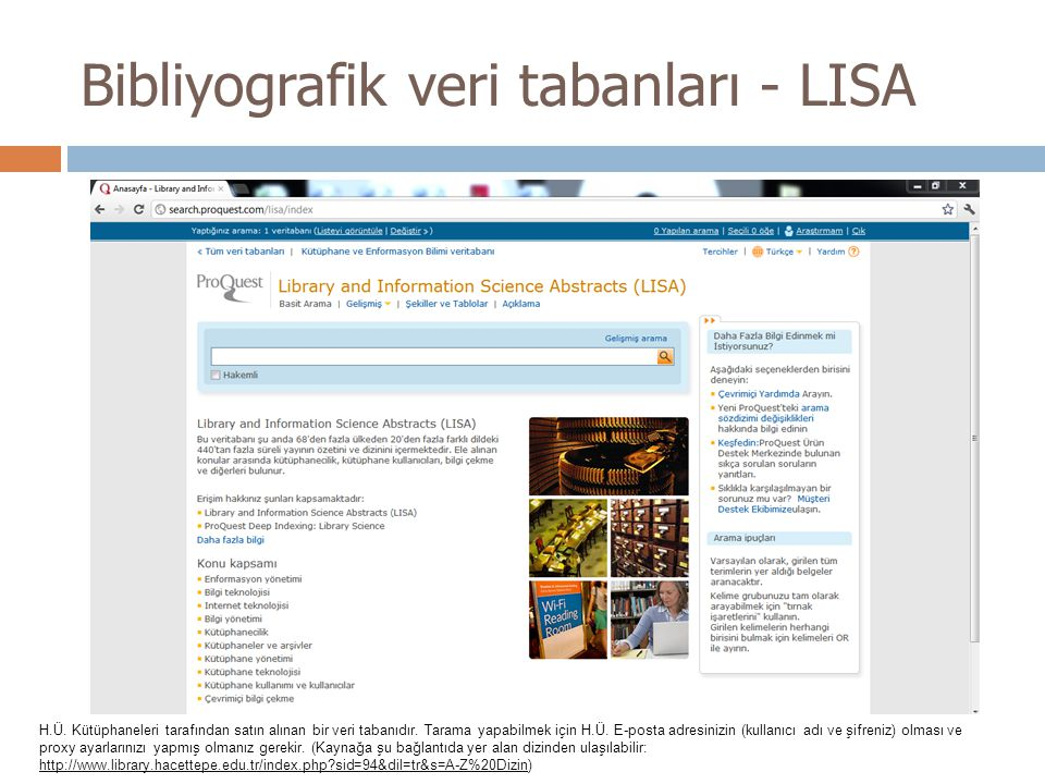 Bibliyografik veri tabanları - LISA