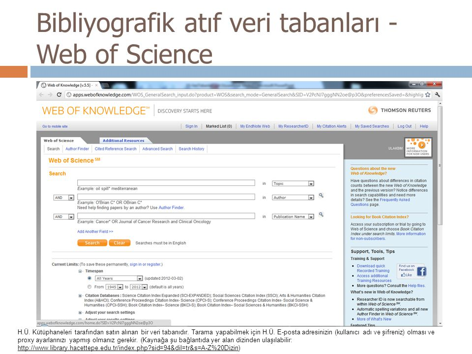 Bibliyografik atıf veri tabanları - Web of Science