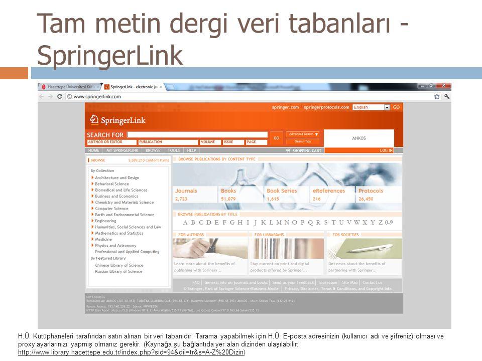 Tam metin dergi veri tabanları - SpringerLink