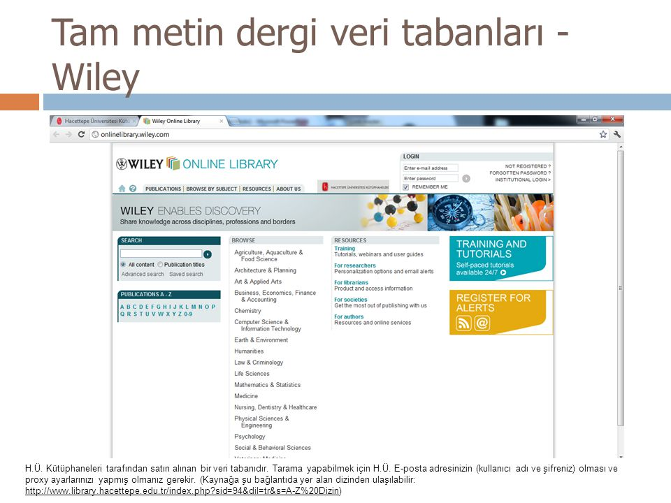 Tam metin dergi veri tabanları - Wiley