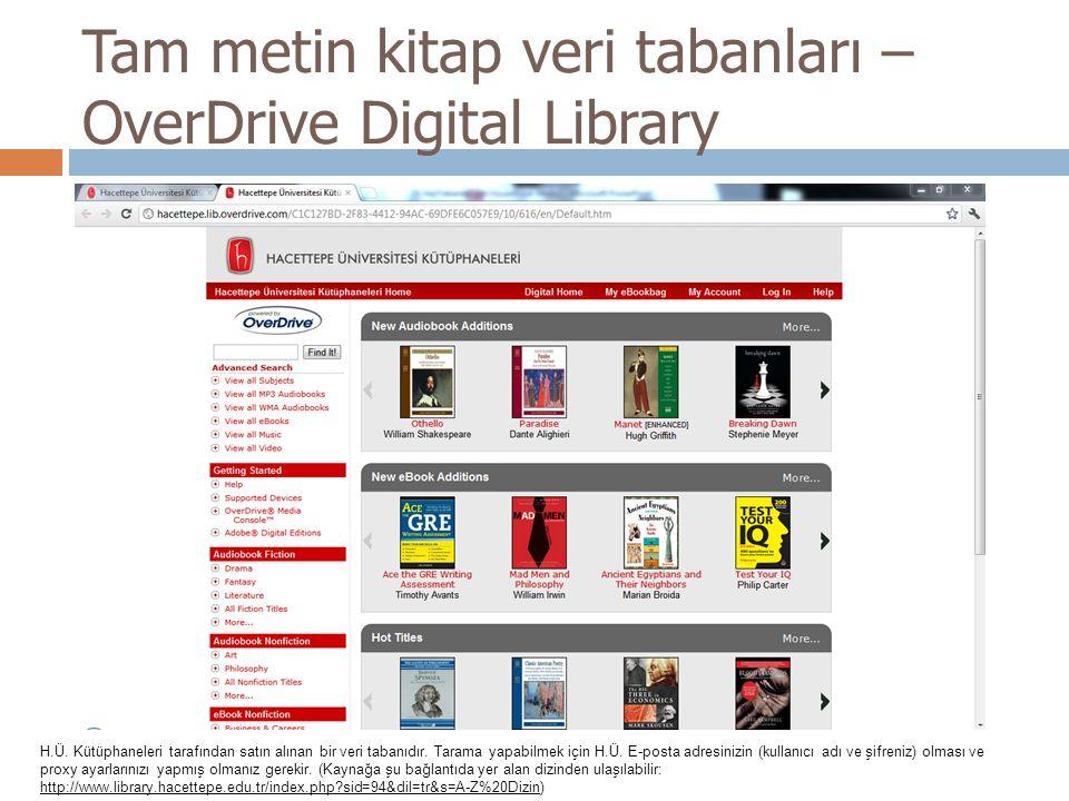 Tam metin kitap veri tabanları – OverDrive Digital Library