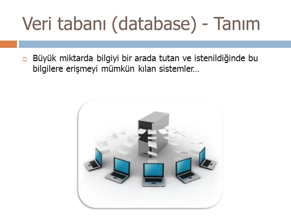 Veri tabanı (database) - Tanım