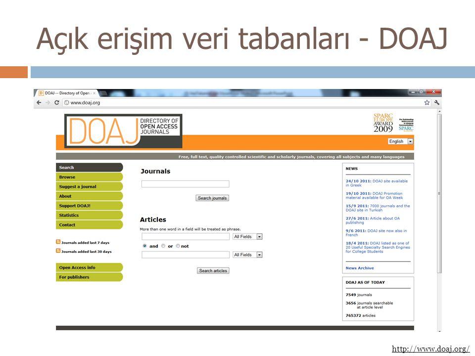 Açık erişim veri tabanları - DOAJ