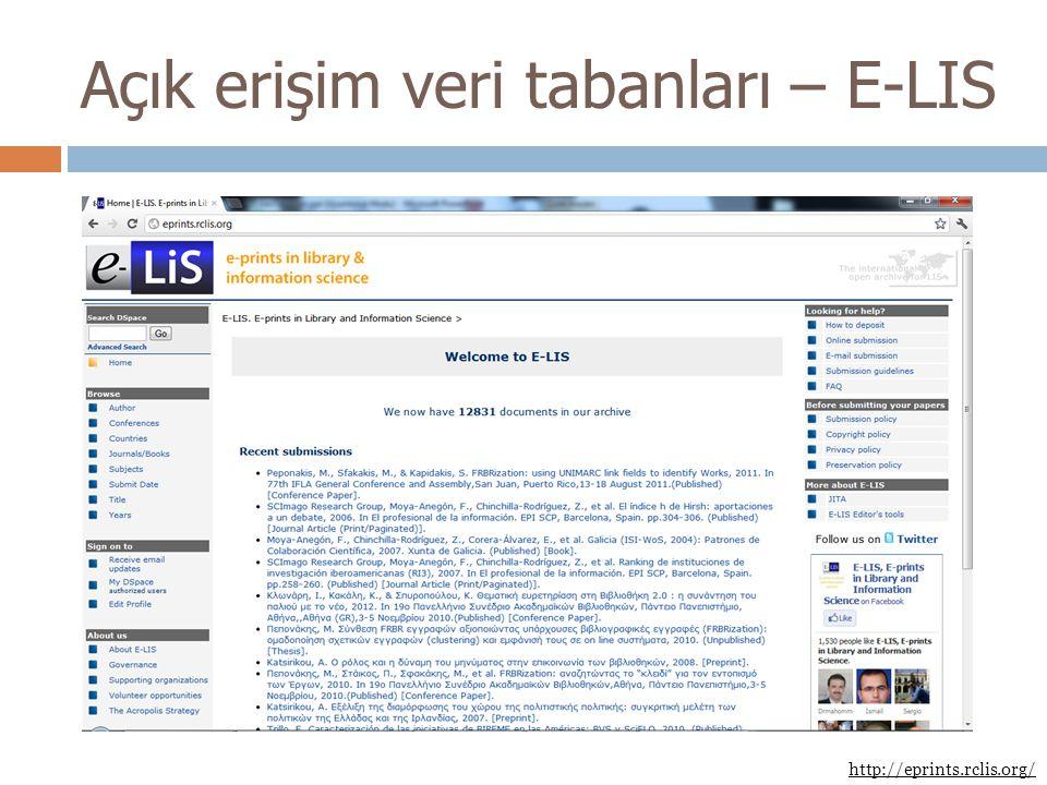 Açık erişim veri tabanları – E-LIS