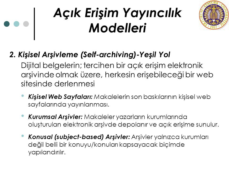 Açık Erişim Yayıncılık Modelleri
