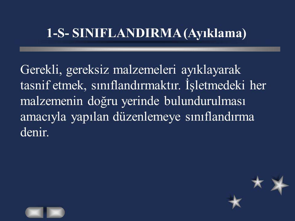 1-S- SINIFLANDIRMA (Ayıklama)