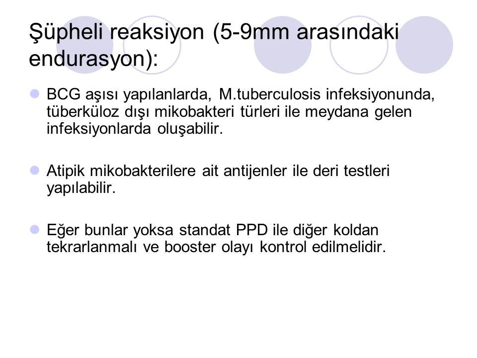 Şüpheli reaksiyon (5-9mm arasındaki endurasyon):