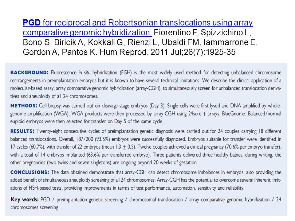 PGD for reciprocal and Robertsonian translocations using array comparative genomic hybridization. Fiorentino F, Spizzichino L, Bono S, Biricik A, Kokkali G, Rienzi L, Ubaldi FM, Iammarrone E, Gordon A, Pantos K. Hum Reprod. 2011 Jul;26(7):1925-35