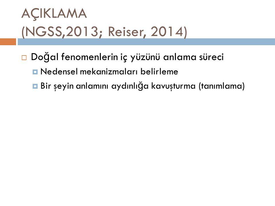 AÇIKLAMA (NGSS,2013; Reiser, 2014)