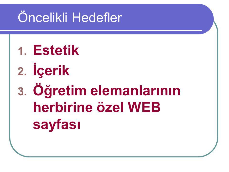 Öğretim elemanlarının herbirine özel WEB sayfası
