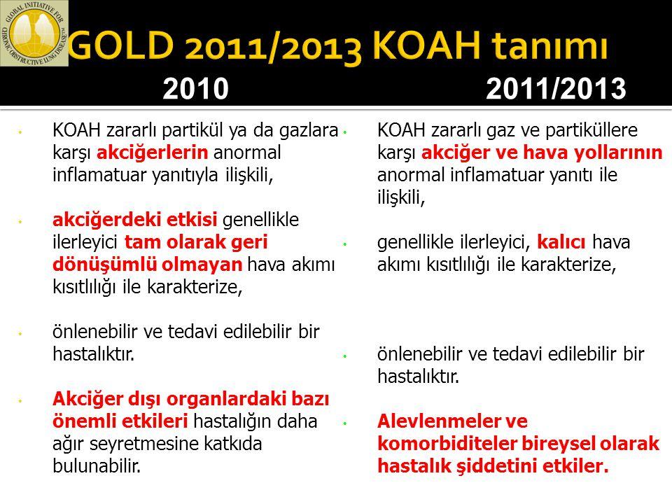 GOLD 2011/2013 KOAH tanımı 2010. 2011/2013. KOAH zararlı partikül ya da gazlara karşı akciğerlerin anormal inflamatuar yanıtıyla ilişkili,
