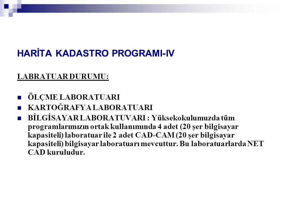 HARİTA KADASTRO PROGRAMI-IV